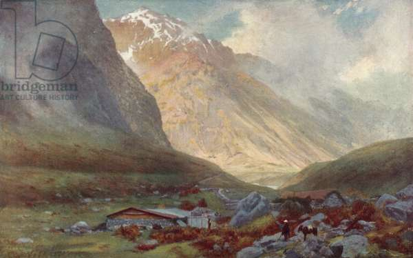 Pass of Uspallata, across the Andes (colour litho)
