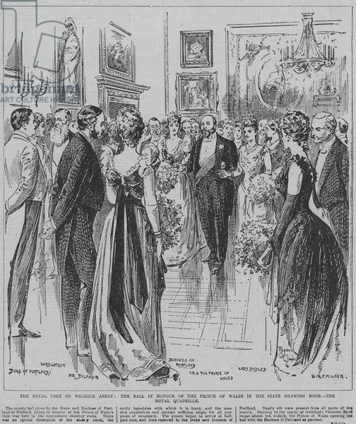 Dancing the Royal Quadrille at the ball held in honour of the Prince of Wales in the state drawing room at Welbeck Abbey, Nottinghamshire, 1891 (engraving)
