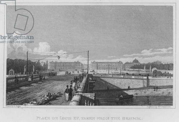 Paris, Place De Louis XV, taken from the Bridge (engraving)