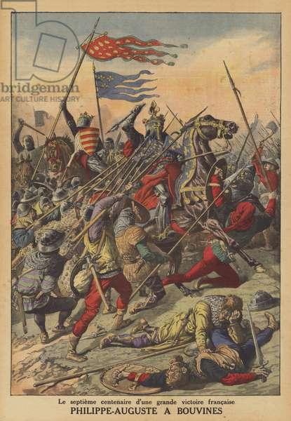 King Philip Augustus of France at the Battle of Bouvines (colour litho)