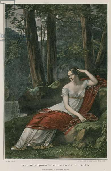 The Empress Josephine in the park at Malmaison (colour litho)
