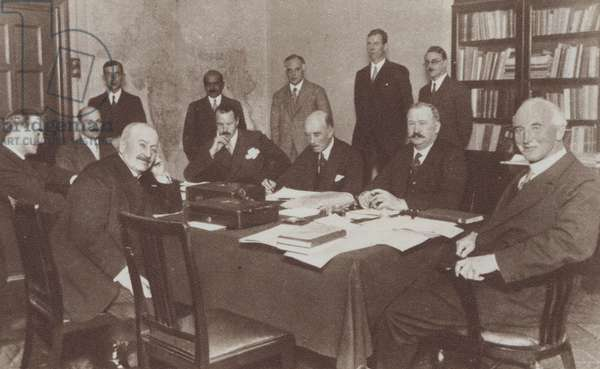 Meeting of the Simon Commission formed to consider constitutional reform in the government in India, 1928 (b/w photo)