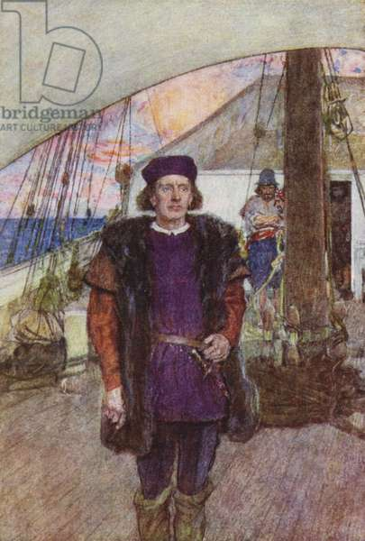 Columbus looks out from the Santa Maria (colour litho)