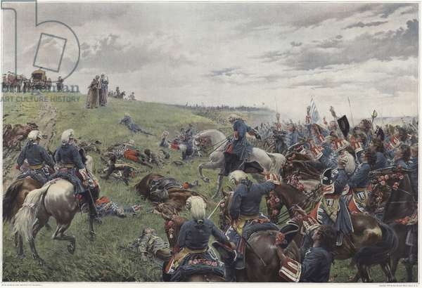 The war in the Dentelles (colour litho)