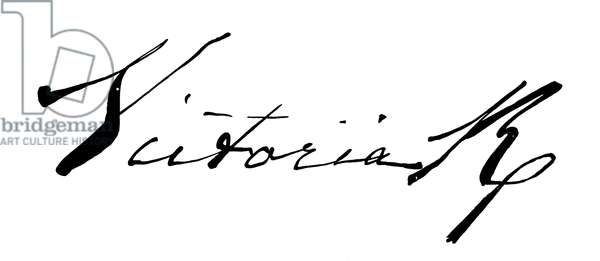 Signature of Queen Victoria, as appended to the coronation oath (engraving)
