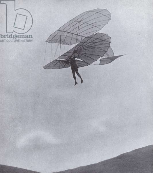 German aviation pioneer Otto Lilienthal flying his glider before his death making a flight in 1896 (b/w photo)