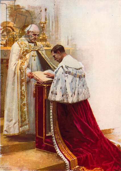 King George VI takes the oath (colour litho)