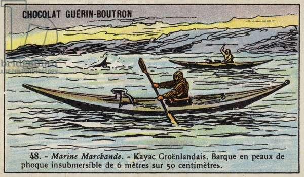Greenland kayak (chromolitho)