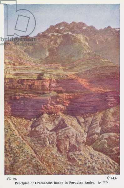 Precipice of Cretaceous Rocks in Peruvian Andes (photo)