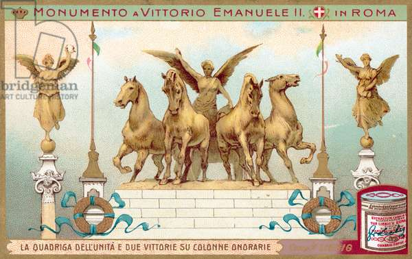 Quadriga of Unity and two Victory statues from the Monument to King Victor Emmanuel II in Rome (chromolitho)