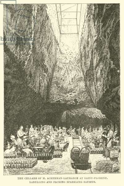 The Cellars of M Ackerman-Laurance at Saint-Florent, Labelling and Packing Sparkling Saumur (engraving)