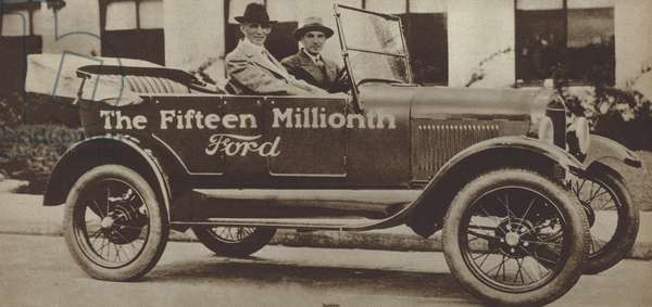 Henry Ford in the 15 millionth Ford Model T car, 1927 (b/w photo)
