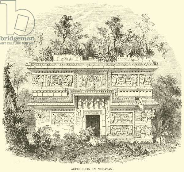 Aztec Ruin in Yucatan (engraving)