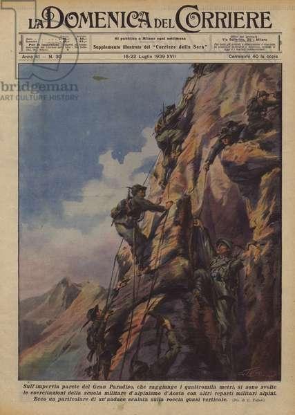 Sull'impervia parete del Gran Paradiso, che raggiunge i quattromila metri, si sono svolte … (colour litho)