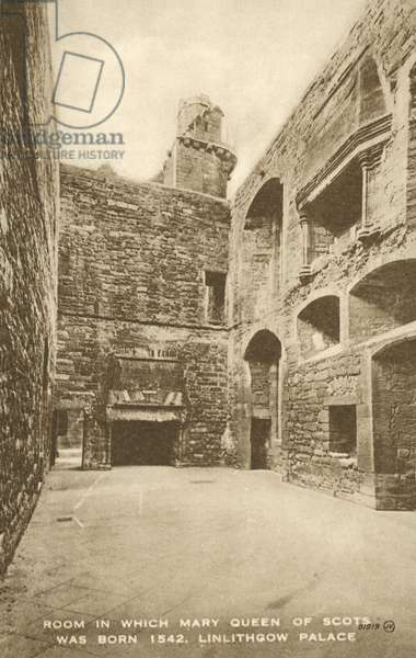 Birthplace of Mary, Queen of Scots, Linlithgow Palace (b/w photo)