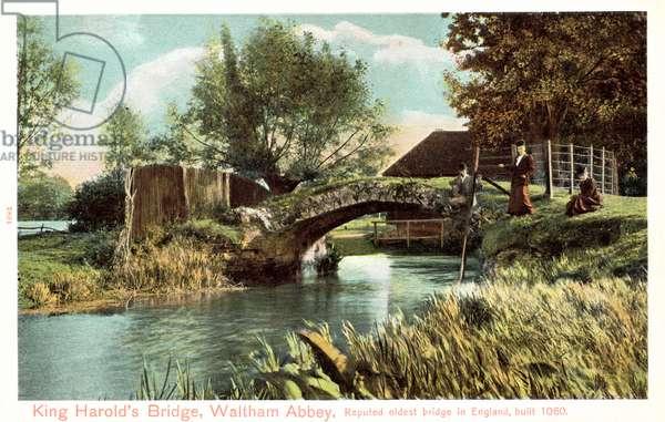 King Harold's Bridge, Waltham Abbey, reputed oldest bridge in England, built 1060 (colour photo)