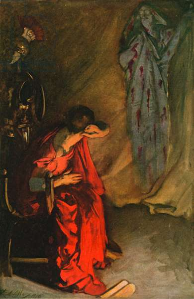 Brutus and the Ghost of Julius Caesar (colour litho)