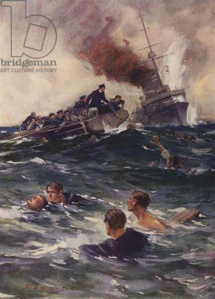 """The rescue of the """"Hogue"""" survivors (colour litho)"""