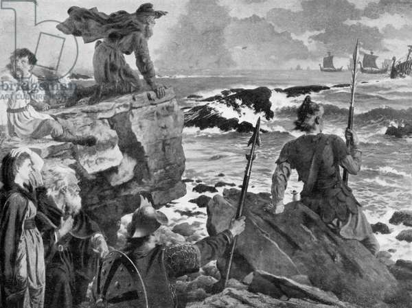 Watching the Approach of Vikings in the Channel (litho)