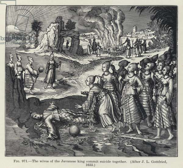 The wives of the Javanese king commit suicide together (litho)