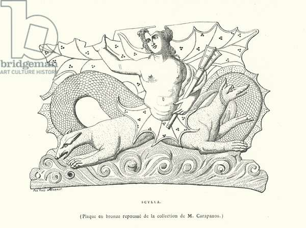 Scylla, Ancient Greek bronze plaque (engraving)
