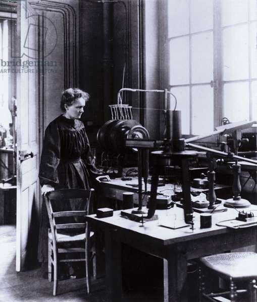 Madame Curie in her laboratory (b/w photo)