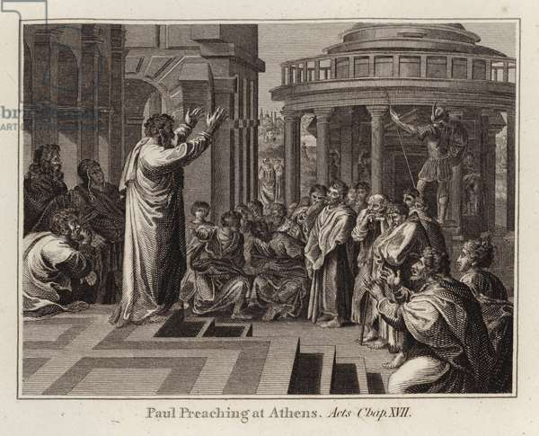 Raphael cartoon: Paul Preaching at Athens, Acts, Chap XVII (engraving)