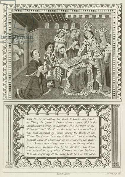 Earl Rivers presenting his book and William Caxton his Printer (engraving)