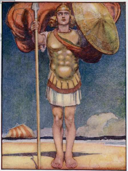 Achilles, fleetest of foot, and bravest of all Greek heroes (colour litho)
