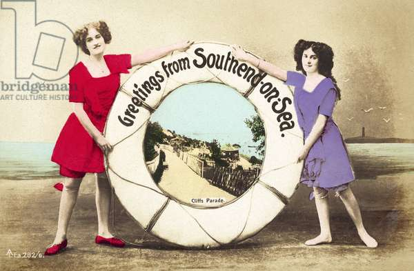 Life Belt, Greetings, Southend-On-Sea, girls (colour photo)