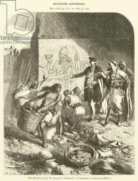 Une Decouverte par M Layard, a Nemroud (engraving)