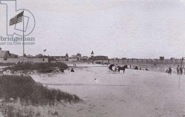 Old Orchard Beach, Maine: Beach scene (b/w photo)