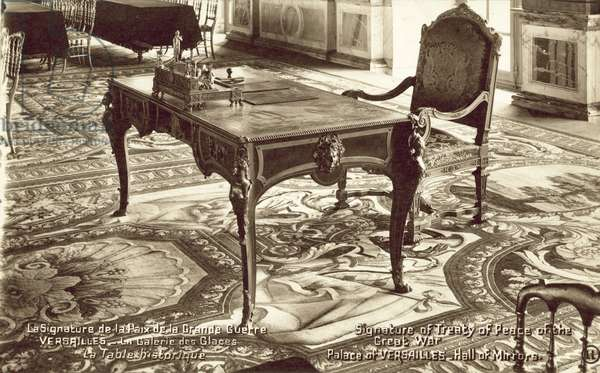Table in the Hall of Mirrors at the Palace of Versailles on which the Treaty of Versailles was signed (b/w photo)