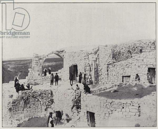 Chobak, the church of the crusaders (b/w photo)