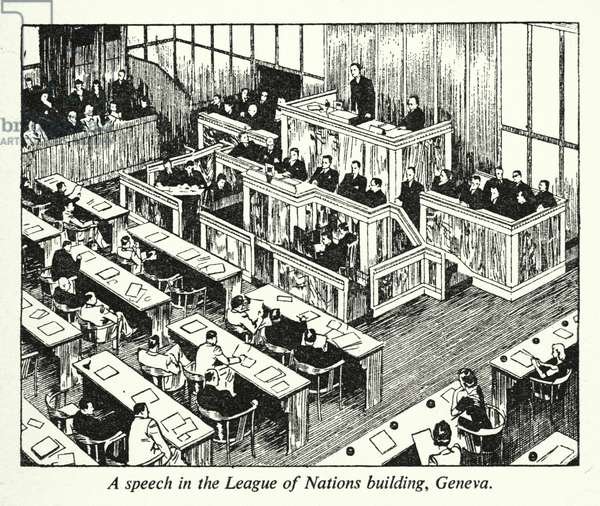 A speech in the League of Nations building, Geneva (litho)