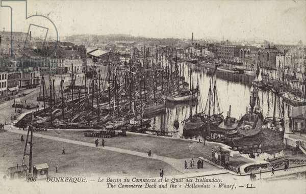 Commercial Dock and Dutch Wharf, Dunkirk, France (b/w photo)