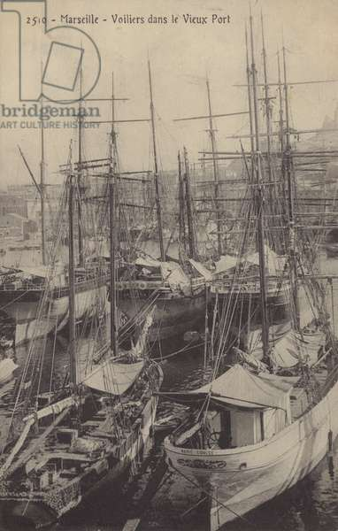 Sailing ships in the Old Port, Marseilles, France (b/w photo)