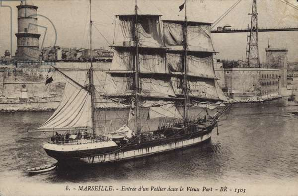 Sailing ship entering the Old Port, Marseilles, France (b/w photo)