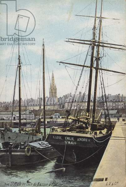 Ships in the harbour of St Malo, Brittany, France (colour photo)