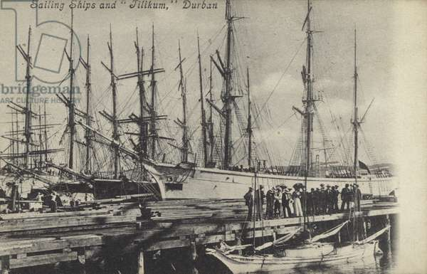 Sailing ships and Tilikum, Durban, South Africa (b/w photo)