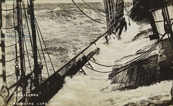The sailing ship Craigerne rounding Cape Horn (b/w photo)
