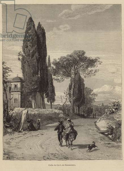 Road from Cavi to Genazzano (engraving)