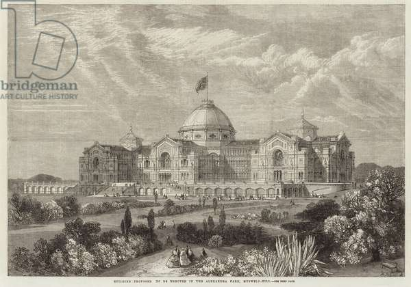 Building proposed to be erected in the Alexandra Park, Muswell Hill (engraving)