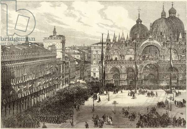 Reception of the Italian troops in front of St Mark's Cathedral (engraving)