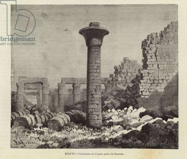 Egypt - Columns in the great court of Karnak (engraving)