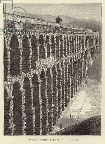 Roman aqueduct at Merida (engraving)
