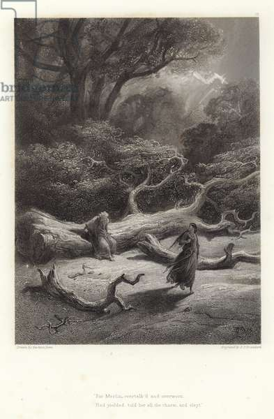 Illustration for Vivien by Alfred Tennyson (engraving)