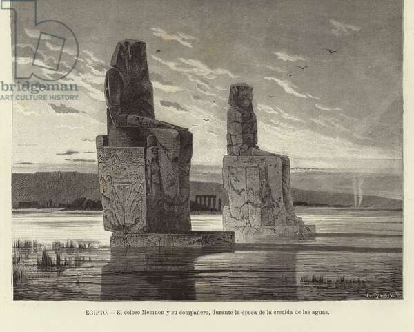 Egypt - The Colossi of Memnon (engraving)