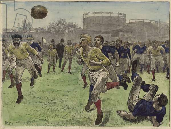 The international football match (coloured engraving)