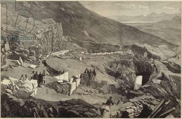 Dr Schliemann's excavations in the Acropolis of Mycenae (engraving)